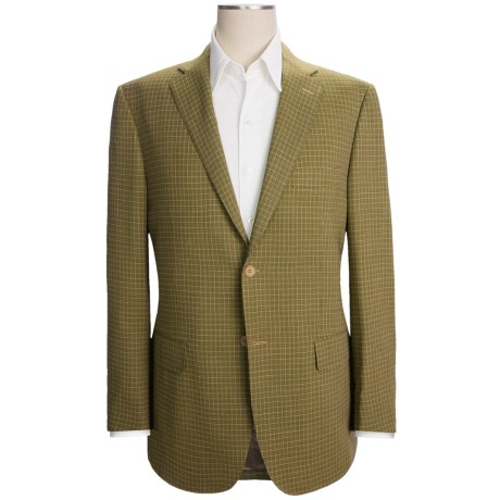 Isaia Check Sport Coat - Wool (For Men) in Olive