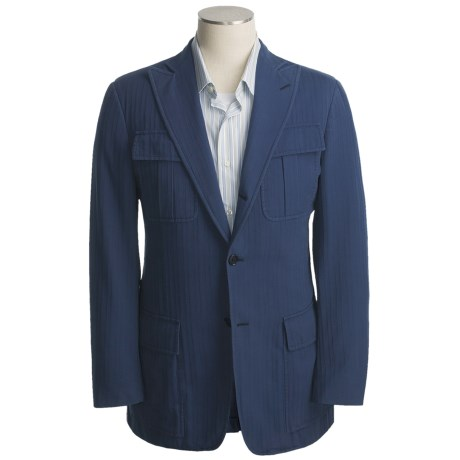 Isaia Cotton Sport Coat (For Men) in 3B/Cv/Dark Blue