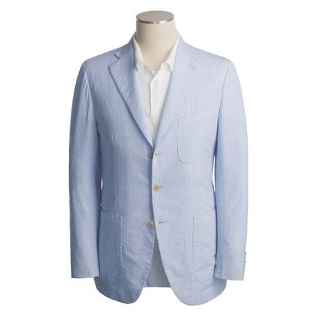Isaia Cotton Sport Coat (For Men) in 3B/Sv/Light Blue/White Stripe