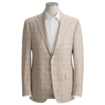 Isaia Fancy Check Sport Coat - Silk-Linen-Cotton (For Men) in Natural/Red/Sage