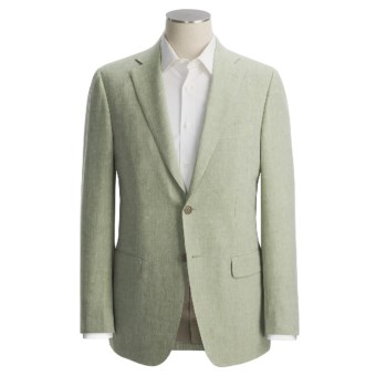 Isaia Heathered Fancy Solid Sport Coat - Linen-Wool (For Men) in Moss