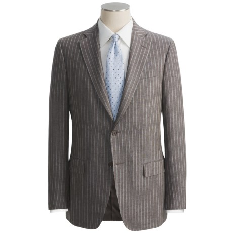 Isaia Heathered Stripe Suit - Linen (For Men) in Brown/Blue