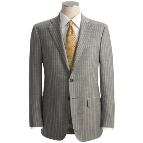 Isaia Heathered Stripe Suit - Wool (For Men) in Light Grey/Cream