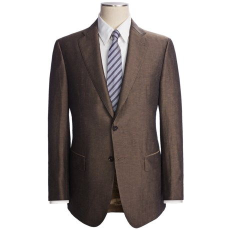 Isaia Heathered Suit - Linen-Silk (For Men) in Dark Taupe