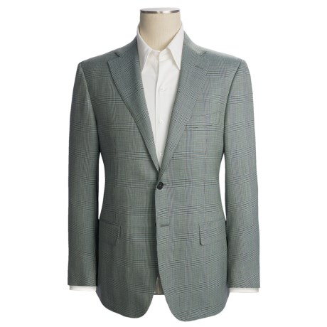 Isaia Houndstooth Plaid Sport Coat - Wool (For Men) in Sage/Brown/Blue