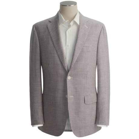 Isaia Houndstooth Sport Coat - Silk-Linen-Wool (For Men) in Eggplant/White