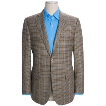 Isaia Mini Check Sport Coat with Baby Blue Windowpane Overlay - Wool (For Men) in Tan - Closeouts