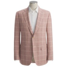 Isaia Mini Houndstooth with Windowpane Overlay Sport Coat - Linen-Wool (For Men) in Red/Gold - Closeouts
