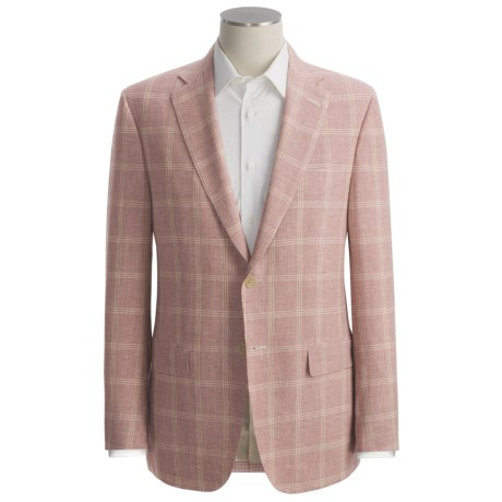 Isaia Mini Houndstooth with Windowpane Overlay Sport Coat - Linen-Wool (For Men) in Red/Gold