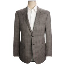 Isaia Multi-Check Sport Coat - Wool-Silk (For Men) in Black/White/Salmon - Closeouts