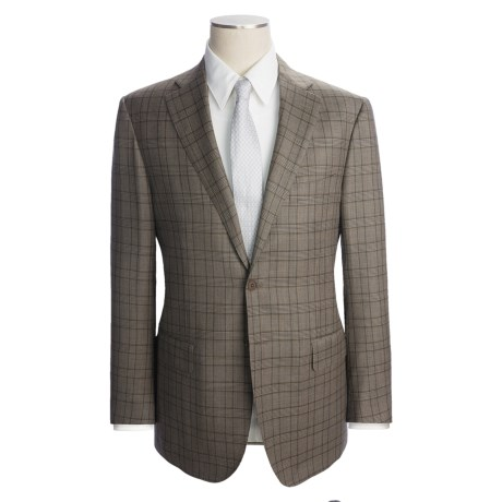Isaia Olive Glen Plaid Suit - Wool (For Men) in Dark Olive/Brown