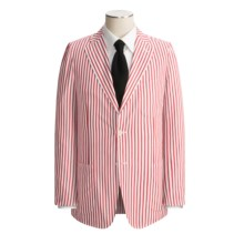 Isaia Patch Pocket Sport Coat (For Men) in Red/White Stripe - Closeouts