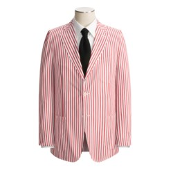 Isaia Patch Pocket Sport Coat (For Men) in Red/White Stripe