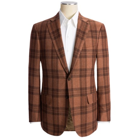 Isaia Plaid Sport Coat - Wool-Cotton-Cashmere (For Men) in Orange Heather