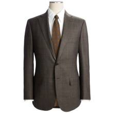 Isaia Plaid with Windowpane Overlay Suit - Wool (For Men) in Dark Brown/Rust - Closeouts