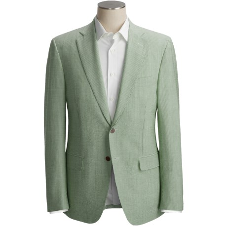 Isaia Seersucker Sport Coat - Wool-Silk (For Men) in Sage Stripe