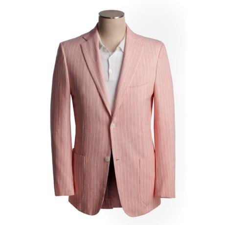 Isaia Sport Coat - Cotton-Rich (For Men) in 3B/Sv/Cotton/Cashmere/Red Orange Birdseye