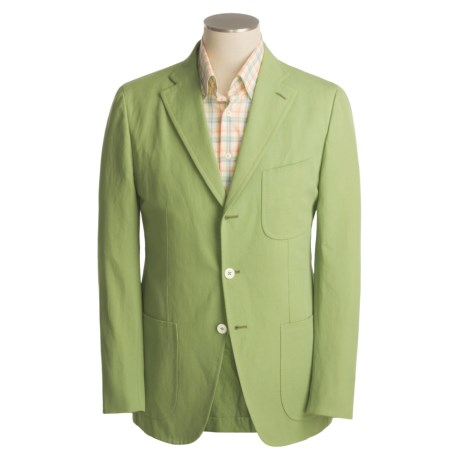 Isaia Sport Coat - Cotton-Rich (For Men) in 3B/Cv/Cotton/Linen/Green Solid