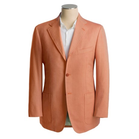 Isaia Sport Coat - Cotton-Rich (For Men) in 3B/Sv/Cotton/Cashmere/Red Orange Birdseye