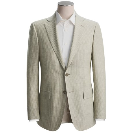 Isaia Striped Sport Coat - Linen-Wool (For Men) in Sage/Natural