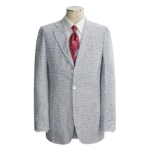 Isaia Three-Button Washed Linen Sport Coat - Linen (For Men) in Lt Blue Isaia Logo - Closeouts