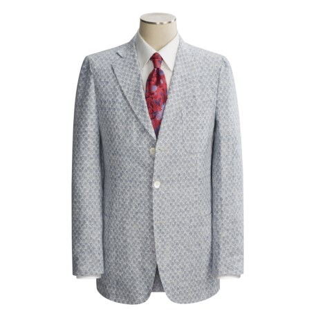 Isaia Three-Button Washed Linen Sport Coat - Linen (For Men) in Lt Blue Isaia Logo