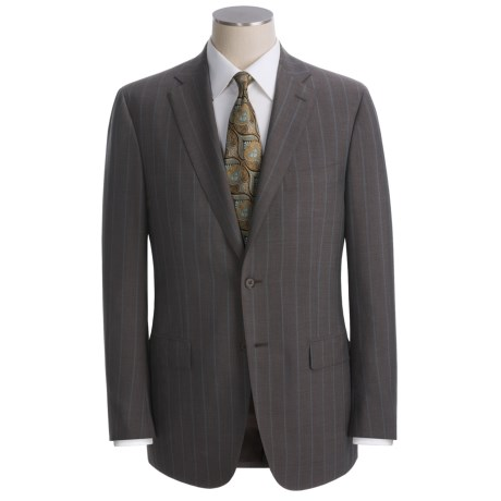Isaia Wide Stripe Suit - Wool (For Men) in Light Tan