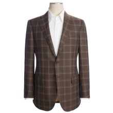 Isaia Windowpane Sport Coat - Silk-Wool-Linen (For Men) in Brown/Tuquoise/White - Closeouts