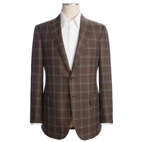 Isaia Windowpane Sport Coat - Silk-Wool-Linen (For Men) in Brown/Tuquoise/White