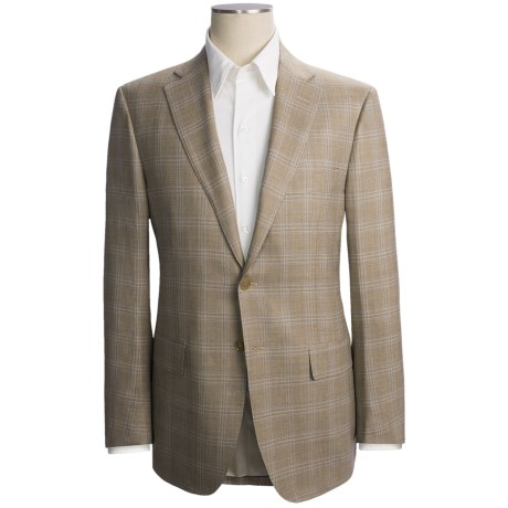 Isaia Windowpane Sport Coat - Wool (For Men) in Taupe/Blue