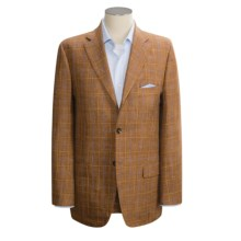 Isaia Windowpane Sport Coat - Wool-Silk (For Men) in Light Rust W/ Blue / Tan 38%Wool 31%Silk 31%Linen - Closeouts