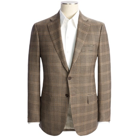 Isaia Wool-Cashmere Check Sport Coat - Windowpane Overlay (For Men) in Light Tan