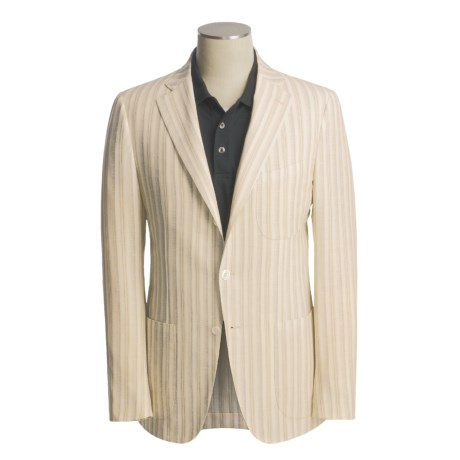 Isaia Wool-Linen Sport Coat (For Men) in 3B/Sv/Wool/Linen/Natural W/Gold/Grey Stripe