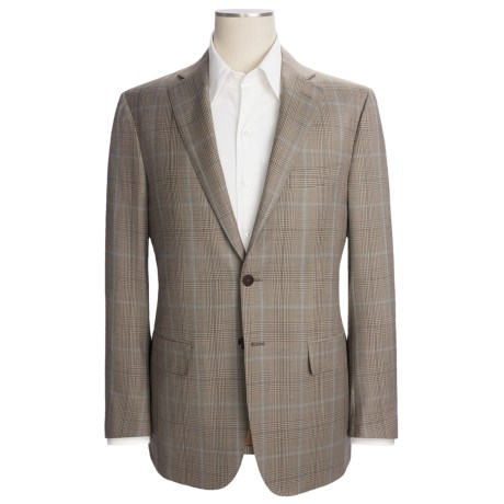 Isaia Wool Plaid Sport Coat - Windowpane Overlay (For Men) in Brown/Blue