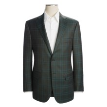 Isaia Wool Plaid Sport Coat - Windowpane Overlay (For Men) in Dark Teal/Bright Blue - Closeouts
