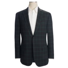 Isaia Wool Plaid Sport Coat - Windowpane Overlay (For Men) in Deep Navy/Green - Closeouts