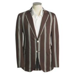 Isaia Wool Sport Coat (For Men) in Dark Brown/White/Pool Stripe