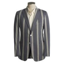 Isaia Wool Sport Coat (For Men) in Dark Grey/White/Yellow Stripe - Closeouts
