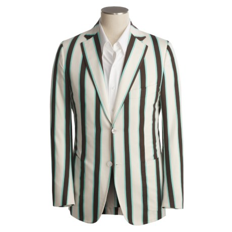 Isaia Wool Sport Coat (For Men) in Ivory/Dark Brown/Pool Stripe