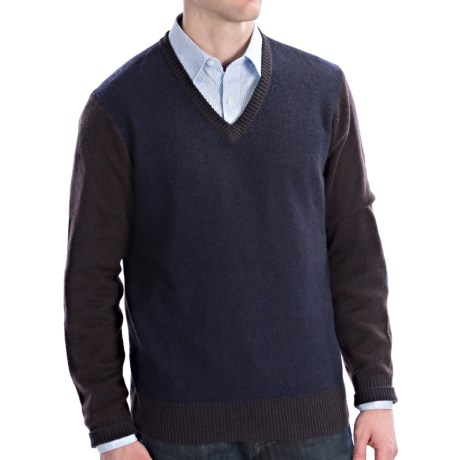 Isaiah Ciarrai Cashmere Sweater - V-Neck (For Men) in Navy/Brown