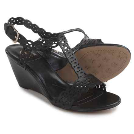 Isola Fleur Wedge Sandals - Leather (For Women) in Black - Closeouts
