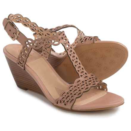Isola Fleur Wedge Sandals - Leather (For Women) in Blush - Closeouts