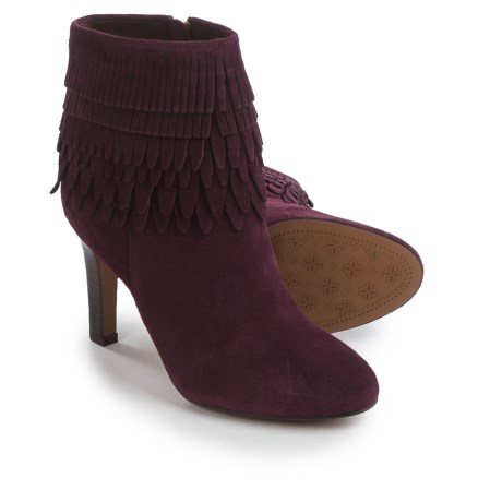 Isola Layton Dress Boots - Suede, Fringe Detail (For Women) in Bordo Suede