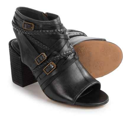 Isola Leonora Open-Toe Bootie Sandals - Leather (For Women) in Black Suede - Closeouts