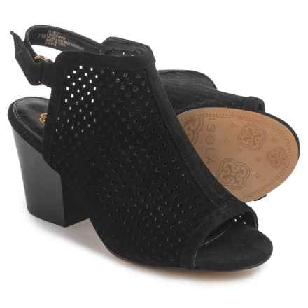 Isola Lora Bootie Sandals - Perforated Leather (For Women) in Black Suede - Closeouts