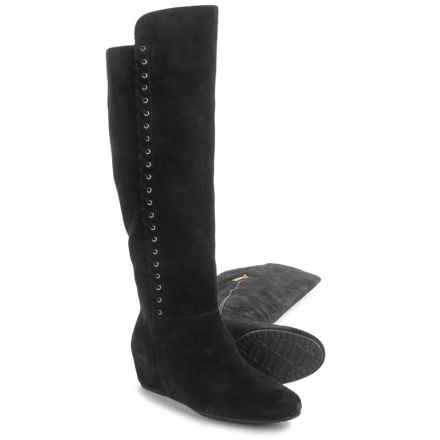 Isola Taveres Tall Dress Boots - Suede, Wedge Heel (For Women) in Black - Closeouts