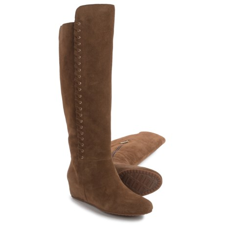 Isola Taveres Tall Dress Boots - Suede, Wedge Heel (For Women) in Desert