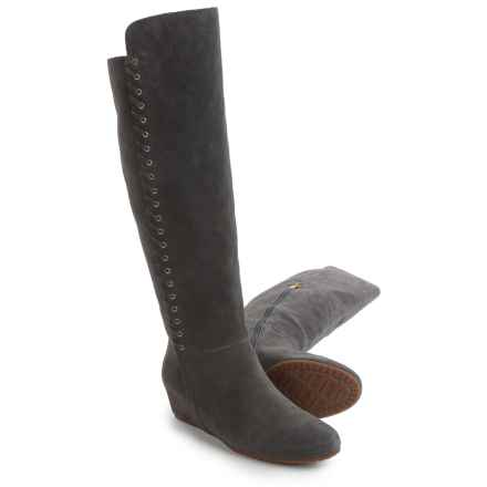 Isola Taveres Tall Dress Boots - Suede, Wedge Heel (For Women) in Steel Grey - Closeouts