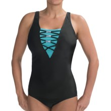 It Figures Color-Block Lace-Up Swimsuit (For Women) in Teal/Black - Closeouts