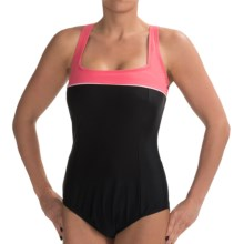 It Figures Color-Block Swimsuit - D-Cup and Up (For Women) in Coral/Black - Closeouts